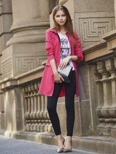 文果怡彩2016新品枚红色风衣