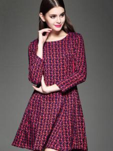千衣商城女装酒红色连衣裙