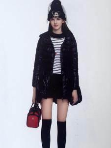 薇妮兰黑色修身保暖羽绒服