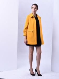 sumsilk夏丝女装黄色翻领大衣