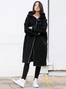 YBS女装2016秋冬新品带帽黑外套