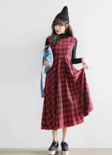 洛丽帕女装秋款新品长款格子连衣裙