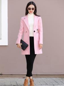 卡茵琪韩版时尚粉色外套