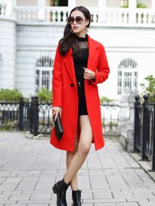 卡茵琪秋季长款红色外套
