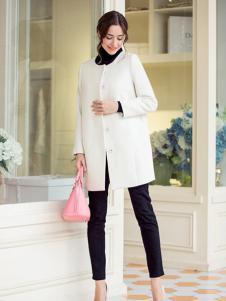 必芙丽白色圆领外套