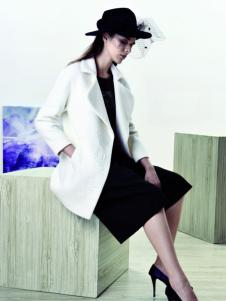 sumsilk夏丝女装白色呢大衣