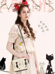 artmi黑白猫咪卡通单肩包