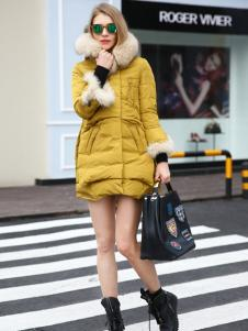 必芙丽黄色欧美羽绒服