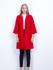 丹尼布鲁秋季时尚红色长款大衣