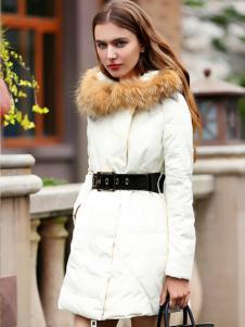 必芙丽2016冬季白色羽绒服