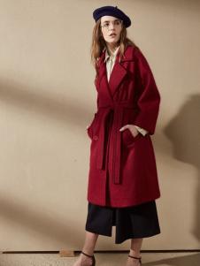 优尚美秋冬红色大衣