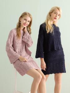 ABUN秋季长款蕾丝套装连衣裙
