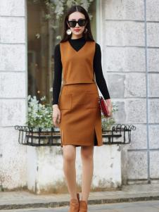 卡茵琪秋季时尚假两件连衣裙