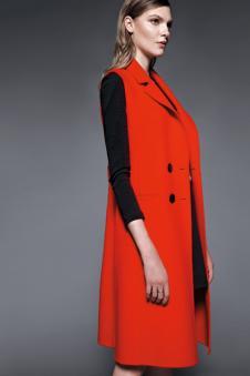 鸢娜尔女装红色无袖毛呢大衣