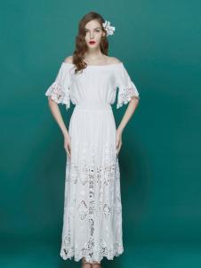 TiTi夏季纯白蕾丝连衣裙新品