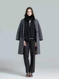 布莎卡冬季灰色时尚长款大衣