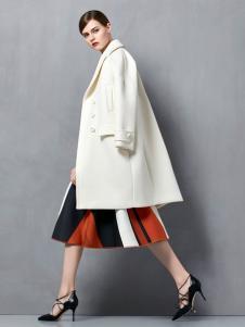 奥伦提白色大衣秋冬新款