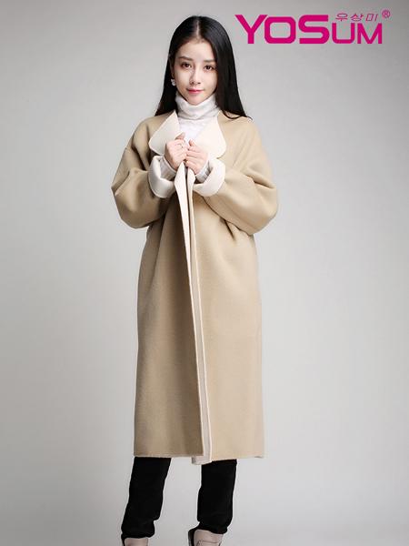 优尚美米色长款欧版大衣