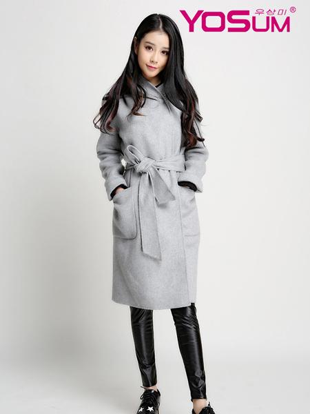 YOSUM灰色修身大衣