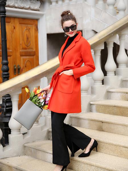 优尚美橙色欧范毛呢外套