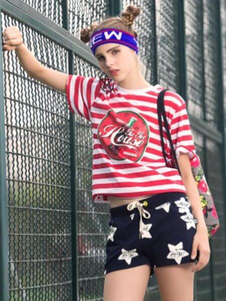 TicTocHouse潮牌女款条纹T恤
