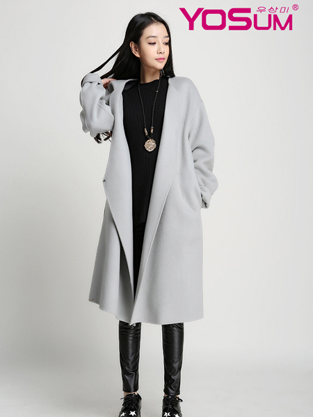 YOSUM灰色简约欧版大衣