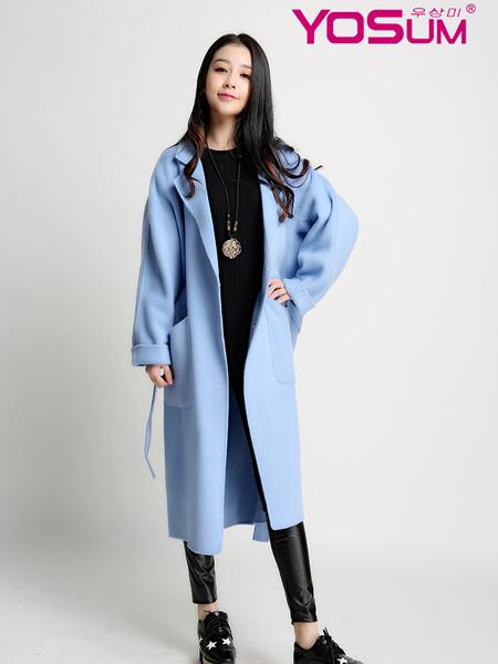 优尚美蓝色宽松简约大衣