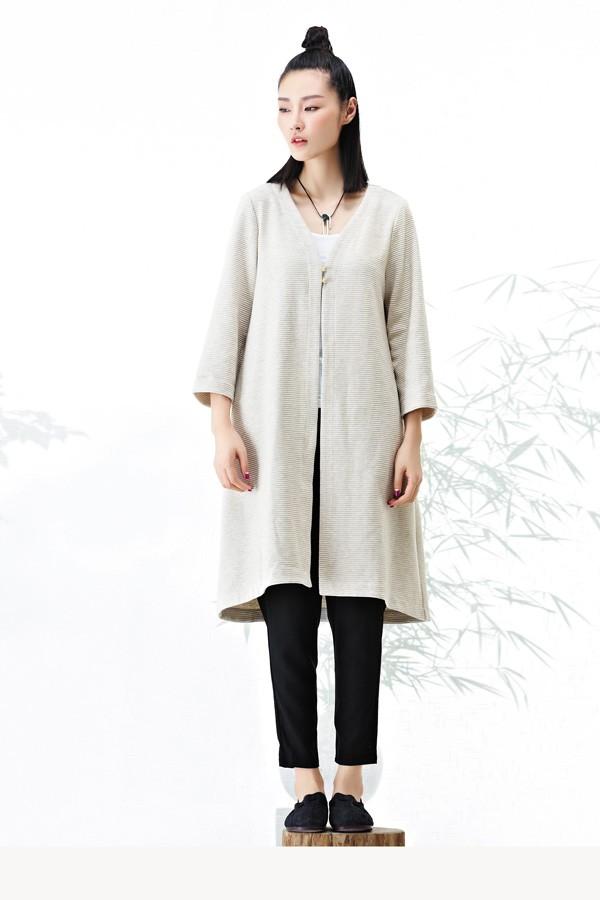 衣甸女装2016秋冬新品素色棉麻长衫 款号267123