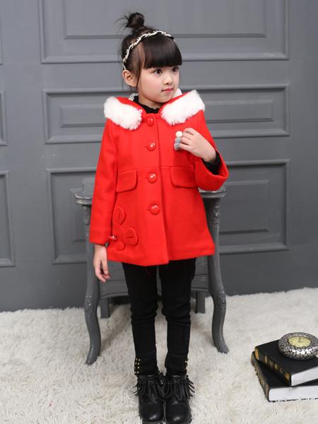 淘淘猫女童红色连帽外套