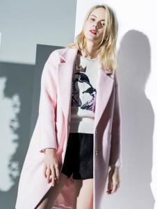 DM快时尚2016女装新品粉色呢大衣