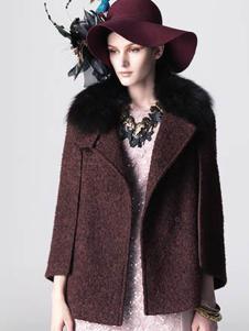 衣索女装毛领短款大衣