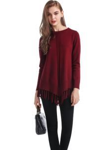 淑女日记女士红色毛衣
