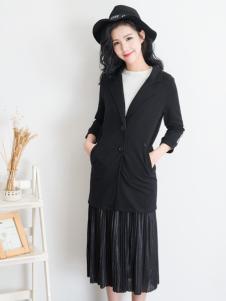 天使韩城黑色中长款外套