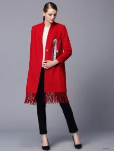 画而诗冬季红色长款羽绒服