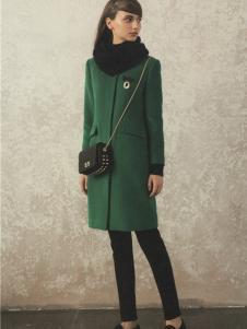 衣魅人2016冬季新款墨绿色大衣