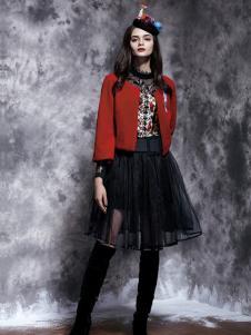 楚阁女装秋冬红色短外套