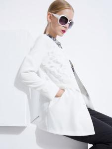 音爱美女装2016秋冬新品白色外套