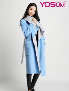 YOSUM蓝色长款毛呢大衣