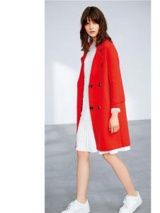 云上写生红色韩版修身大衣