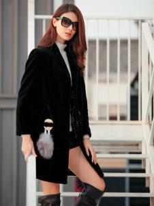 金蝶茜妮黑色中长款大衣