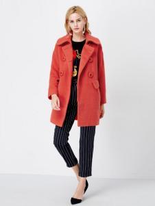 亦谷女装2016秋冬新品橙色中长款大衣