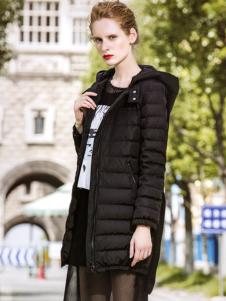 衬茉品牌折扣2016黑色经典羽绒服