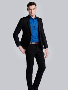 贝克狮丹黑色短款修身西装