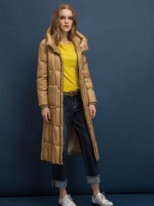迪索怡黄色H版修身长款羽绒服
