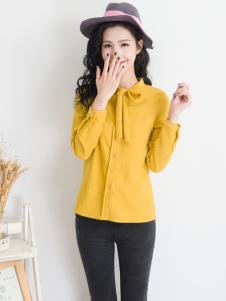 天使韩城黄色雪纺衬衫