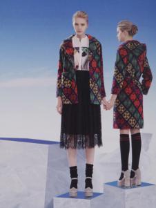 点占女装2016秋冬新品菱形多彩大衣