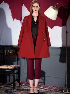 米祖2016女士红色大衣