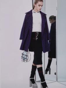点占女装2016秋冬新品翻领紫色大衣