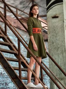 ik女装军绿色连衣裙