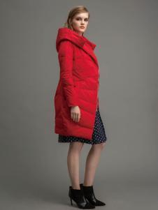迪索怡女装红色连帽修身羽绒服